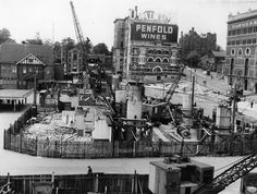 Construction of Circular Quay Railway Station in Sydney (year unknown). Sydney New South Wales, Darling Harbour, Historical Images, Under Construction, Old Photos, Opera House, Past, Australia, Opera