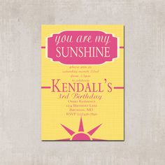 You Are My Sunshine Birthday Party Invitation with Matching Decorative Sign - Printable by PrettyPaperInk on Etsy https://www.etsy.com/listing/178282907/you-are-my-sunshine-birthday-party