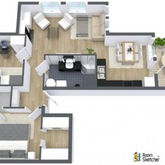 YOU DECIDE - Is the living room large enough in this 2 bedroom apartment?  Visualize your living room redecorating project in 3D:  http://planner.roomsketcher.com/?ctxt=rs_com  Aerial view 3D floor plan for a two bedroom apartment with balcony designed in RoomSketcher Business Edition   #floorplan #apartmentliving #livingrooms