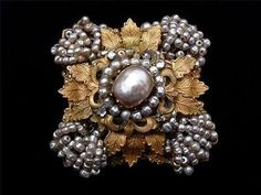 """Vintage Signed """"Miriam Haskell"""" Layered Faux Seed Pearl Russian Gold Brooch Pin 