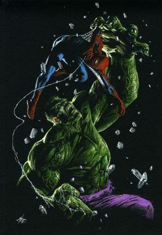SPIDER MAN VS HULK, GABRIELE DELL'OTTO, in David C.'s GABRIELE DELL'OTTO Comic Art Gallery Room