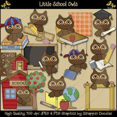 Owls in  school Clip Art | Little School Owls Clip Art Download