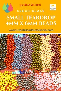 Czech Glass Small Teardrop 4mm x 6mm Beads  45 New Colors! - Buy now with discount!  Hurry up - sold out very fast! www.CzechBeadsExclusive.com/+4mm+teardrop SAVE them! ??Lowest price from manufacturer! Get free gift! 1 shipping costs - unlimited order quantity!  Worldwide super fast ?? shipping with tracking number! Get high wholesale discounts! Sold with  at http://www.CzechBeadsExclusive.com #CzechBeadsExclusive #czechbeads #bead #beaded #beading #beadedjewelry #handmade #etsy #dawanda…