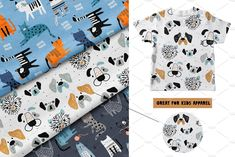 Ad: Cats&Dogs graphic collection by solmariart on Absolutely stanning graphic collection with funny and creative cats and dogs! Graphic Patterns, Cool Patterns, Print Patterns, Cute Cats And Dogs, Cutest Dogs, Notebook Design, Baby Shower Cards, Pattern Drawing, Christmas Design