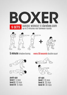 Check out this full body workout with exercises that boxers do. Nice routine to burn calories in an exciting way 100 Workout, Boxing Training Workout, Home Boxing Workout, Boxer Training, Home Workout Men, Kickboxing Workout, Mental Training, Fitness Workouts, Fun Workouts