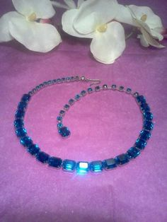 Vintage Weiss Necklace Sapphire Blue Octagon Rhinestone 1950's Costume Jewelry