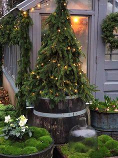Christmas Urns, Christmas Garden Decorations, Woodland Christmas, Country Christmas, Winter Christmas, Christmas Holidays, Christmas Crafts, Natal Country, Christmas Tree Inspiration