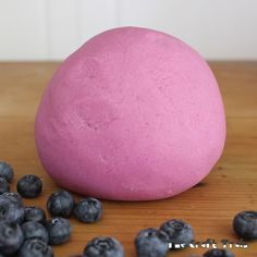 My kids still love play dough, so I am often experimenting with different recipes to make the experience a little bit different for them. This dough uses fresh blueberries to give it a bright purple colour. I know, I know, they are a pricey fruit and we usually only have them as a treat, so isn't that being wasteful with food? Not really, because this recipe extracts the dye from the berries