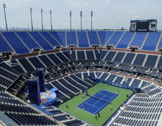 An empty Arthur Ashe Stadium during a practice session.