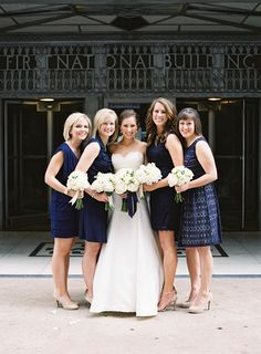 Bridesmaids in navy blue