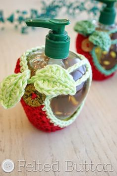 Felted Button - Colorful Crochet Patterns: Teacher Gift Idea--Hand Soap Apple Cozy