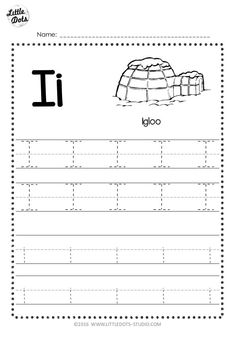 Free Letter I Tracing Worksheets Letter Worksheets For Preschool, Alphabet Tracing Worksheets, Alphabet Writing, Preschool Writing, Preschool Alphabet, Handwriting Worksheets, Alphabet Crafts, Handwriting Practice, Alphabet Letters