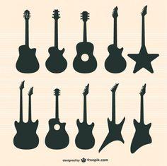 Conjunto de vectores de guitarras. Vector gratis. Siluetas. Con atribución.