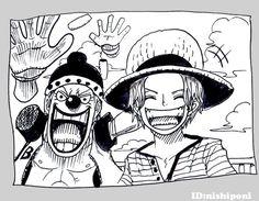 One Piece, Buggy and Shanks One Piece Anime, One Piece 1, One Piece Luffy, Manga Anime, Anime Demon, Zoro Nami, Roronoa Zoro, Anime Monochrome, Es Der Clown