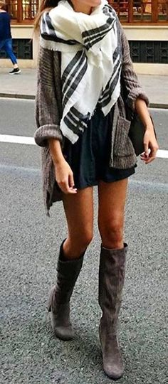 #cute #outfits White Printed Scarf // Grey Jacket // Black Dress // Grey Knee High Boots