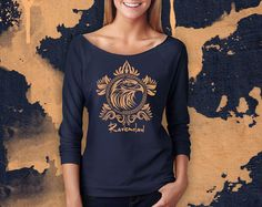 Harry Potter RAVENCLAW Sweater, RAVENCLAW Sweatshirt. Slouchy 3/4 Sleeve Off-the-Shoulder Indigo Blue Pullover Top. Harry Potter Shirt.