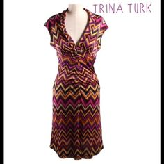 Trina Turk Pink Dress Authentic ....Trina Turk Pink  Chevron  Multi Color 100% Silk Sheath Dress...Bust:34'  Waist: 28' Length 38', the SKU # TRT-63700, Beautiful dress , excellent condition..... Trina Turk Dresses