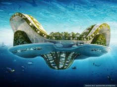 The Floating ecopolis, otherwise known as the Lilypad, is a model designed by Vincent Callebaut, the Belgian architect, for future climatic refugees. He proposed this model as a long-term solution to rising water level as per the GIEC (Intergovernmental group on the evolution of the climate) forecast. It is a self-sufficient amphibious city and satisfies the four challenges laid down by the OECD