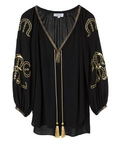 Black and Gold Iphigenia Embroidered Cutout Blouse