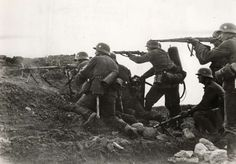 German shock troops open up on Soviet positions around Leningrad, 1941. There are two machine guns and a flamethrower (carried by the man obscured by the 1st rifleman on the left). Shock troops were trained in ambush tactics and neutralizing static defensive positions, reminiscent of the trench assault squads of WW1.