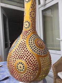 Frozen Banana Pops, Decorative Gourds, Decorative Lamps, Green Garland, Gourd Lamp, Hanukkah Gifts, Mandala Painting, Pyrography Patterns, Nature Crafts