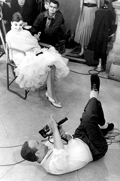 "Audrey Hepburn and Fred Astaire on the set of ""Funny Face,"" 1957."