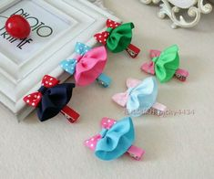 Easter Hair Bow Small Hairbow Polka Do - Qoster Ribbon Art, Ribbon Hair Bows, Diy Hair Bows, Diy Ribbon, Ribbon Crafts, Diy Crafts, Baby Hair Clips, Flower Hair Clips, Band Kunst