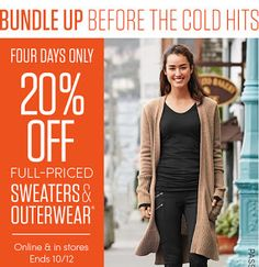 Seattle Moms Deal Finder: Athleta: 20% off Outerwear and Sweaters