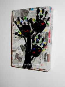 recycled art, this could be very awesome with parents/grandparents/children/friends OR anyones HAND PRINTS!