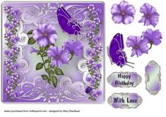 Lilac Petunias with Butterfly and Ladybird