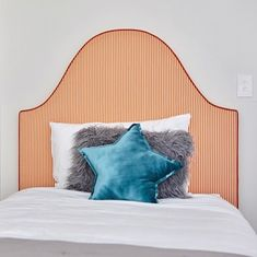 Genevieve Bedhead Orange and White Striped Linen, from [Heatherly Design Bedheads in Courtney and Hans' kids' bedroom. Fast Furniture, Art Deco Furniture, Furniture Layout, Kids Furniture, Furniture Design, Upholstered Beds, Bed Head, White Bedding, Kid Beds