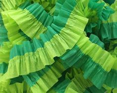 Light and Emerald Green Ruffled Crepe Paper Streamers - 36 feet - Paper Garland Goods Party Supplies