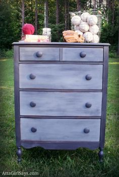Ombre Shades of Gray Dresser hand painted by Amy of AttaGirlSays.com