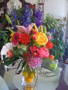 Tall vase arrangement for buffet table by Robyn