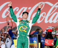 CONCORD, NC - MAY 27:  Kasey Kahne, driver of the #5 Quaker State Chevrolet, celebrates in Victory Lane after winning the NASCAR Sprint Cup Series Coca-Cola 600 at Charlotte Motor Speedway on May 27, 2012 in Concord, North Carolina.  (Photo by John Harrelson/Getty Images for NASCAR)