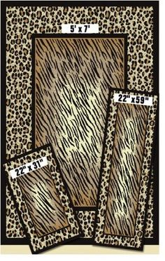 Achim 831/373-J - Capri 3 Piece Rug Set - Leopard Tiger Animal Skin Print $49.50