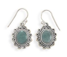 Oxidized Rough-Cut Emerald French Wire Earrings from Blue Tulip Boutique #earrings #emerald #maybirthstone