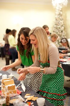 Gingerbread Barn Building hosted by @Southern Weddings Magazine - 'tis the season for creating something sweet!