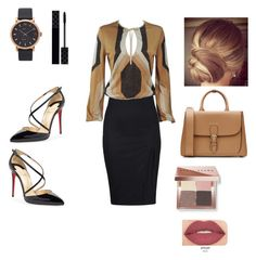 """Black and Tan workday"" by annar2569 on Polyvore featuring Gucci, Christian Louboutin, Burberry, Marc Jacobs, Bobbi Brown Cosmetics and Smashbox"
