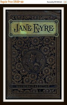 """Vintage Book Cover Print """"Jane Eyre"""" by Charlotte Bronte published circa 1900 books Jane Eyre Book Cover Print - Jane Eyre Poster Charlotte Bronte - Jane Eyre Print - Literary Print - Book Cover Art - Library Decor Charlotte Bronte, Emily Bronte, Vintage Book Covers, Vintage Books, Vintage Art, Old Books, Antique Books, Book Cover Art, Book Art"""