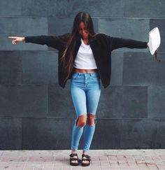 black + white + denim #birkenstock