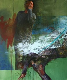 The entering to a role Cyprian Nocoń oil on canvas 2018 silesia green expression theater actor