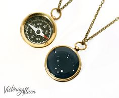 Wear your star sign or the sign of someone you love while you navigate through life, with this fun custom constellation compass necklace - featuring your choice of constellation on the back side of a small working brass compass!  The back of the vintage styled compass displays a dark navy blue and white constellation illustration of your choice (from one of my own graphic designs,) sealed with glossy jewelers resin. To prolong the life of your jewelry, please keep it protected from harsh…