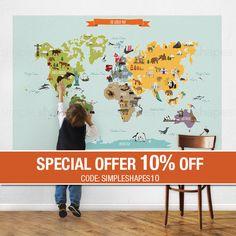 Wereld kaart Peel en Stick. Laat uw kinderen ontdekken de wereld met onze Peel & Stick wereldkaart. Bekende dieren en monumenten zijn