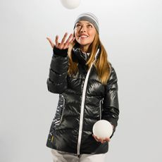Look like a lady, but ski like a fiend in this quilted down jacket in our new waterproof, breathable, wind Textured Poly 2 fabric. Technical finesse and feminine styling are all sewn up for living to the max, from mountains to main streets! • Center-front zip • Stand-up collar • Attached adjustable hood • Two zippered hand pockets • Hand gaiters • Strategically seam sealed • Downglow TM 600 insulation • Length: 29 inches