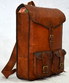 Men's Genuine Real leather backpack rucksack briefcase vintage natural Cross bag