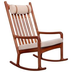 Jacob Kjaer Rocking Chair in Teak, Denmark, 1960s | From a unique collection of antique and modern rocking chairs at https://www.1stdibs.com/furniture/seating/rocking-chairs/