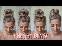 Today I wanted to show you some more messy buns. I love doing messy buns and I'm always trying to think of new ways to where a messy bun. Super Easy Hairstyles, Fast Hairstyles, Easy Hairstyles For Long Hair, Pretty Hairstyles, Hairstyle Short, School Hairstyles, Natural Hairstyles, Long Hair Buns, Running Late Hairstyles
