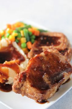 Slow Cooker San Francisco Pork Chops Recipe (Fall Apart Tender) Crock Pot Slow Cooker, Crock Pot Cooking, Slow Cooker Recipes, Crockpot Recipes, Cooking Recipes, Freezer Cooking, Casserole Recipes, Cooking For Two, Chops Recipe