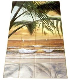 DR - Paradiso Sunset - Tile Mural Digitally reproduced for tiles and depicts a view of the ocean through beautiful palm trees. Beach scene tile murals are great as part of your kitchen splash-back tile project or your tub and shower surround bathroom tile project. Waterview images on tiles such as tiles with beach scenes and sunset scenes on tiles. Tropical tile scenes add a unique element to your tiling project and are a great kitchen backsplash or bathroom idea.